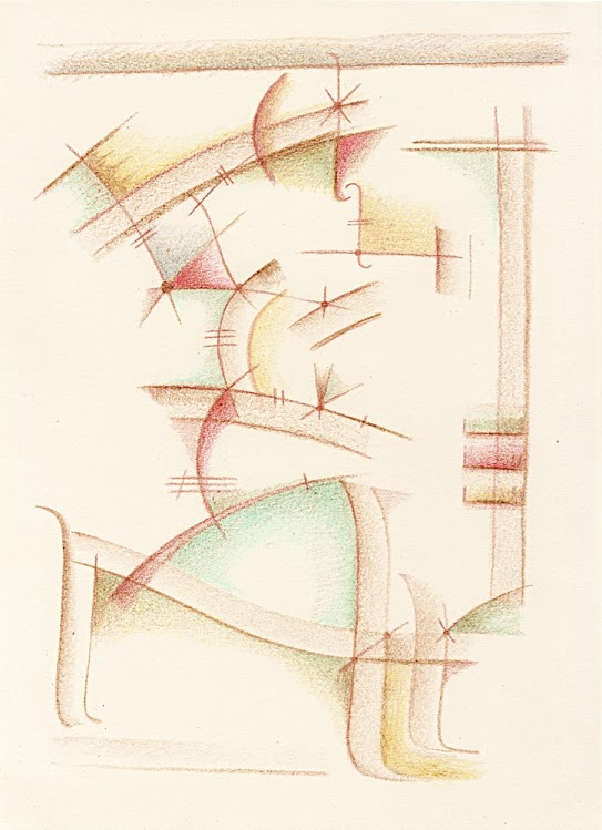 Abstract crayon and coloured pencil sketch